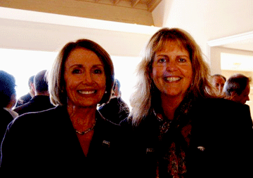 TIHDI Executive Director, Sherry Williams, with Congresswoman and Speaker of the US House of Representatives, Nancy Pelosi, at reception following the historic signing of the terms of the transfer agreement between the US Navy and City & County of San Francisco.